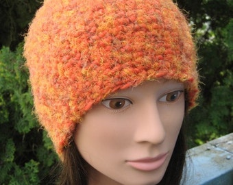 Fuzzy Orange Crocheted Hat 85/10