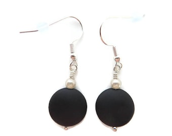 Dressy Black Earrings, Black Beach Glass Earrings, Recycled Glass, Black Sea Glass Earrings, Pearl Earrings, Black Dangles, Jet Black Drop