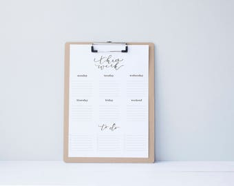 Weekly To Do List Organization - Printable Calendar - simple.rustic.minimal.watercolor.