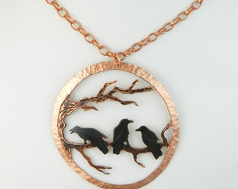 Goth crow, murder of crows, three crows, raven necklace, crow pendant, rook, wearable art, corvid jewelry, copper statement, copper patina