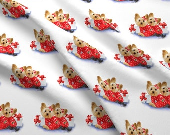 Dogs Fabric - Yorkie Christmas Twins By Catialee - Yorkie Twins Christmas Pajamas Red White Green Cotton Fabric By The Yard With Spoonflower