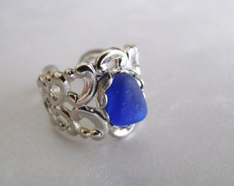 Blue Sea Glass  Jewelry -Cobalt Blue Sea Glass Wide Cocktail Ring - Cobalt Blue Ring - Beach Glass Ring - Prince Edward Island Sea Glass