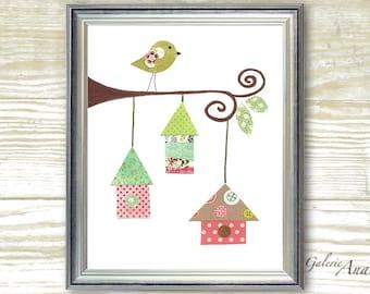 Kids art baby nursery decor - nursery wall art - kids wall art - personalized - nursery bird - Birdhouses print