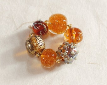 Handmade glass beads Lampworkperlen Lampwork glass beads Brown Amber Amber gold topaz