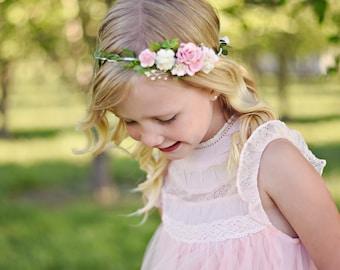 Baby blush crown Baby blush Flower crown Blush girl crown Newborn blush crown Child blush crown Blush flower girl Baby blush headpiece