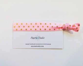 Pink Gold Polka Dots Hair Tie