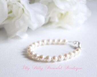 Baby Bracelet Real Pearls, Freshwater Pearls BABY GIRL New Baby Gift, Keepsake, 1st Pearls, Birthday, Baby Shower Gift