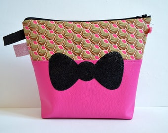 Toilet bag girl/woman, printed leatherette and pink faux leather, applied black glitter bow