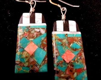Ke-Wa~Santo Domingo Pueblo~Turquoise Mosaic~Earrings