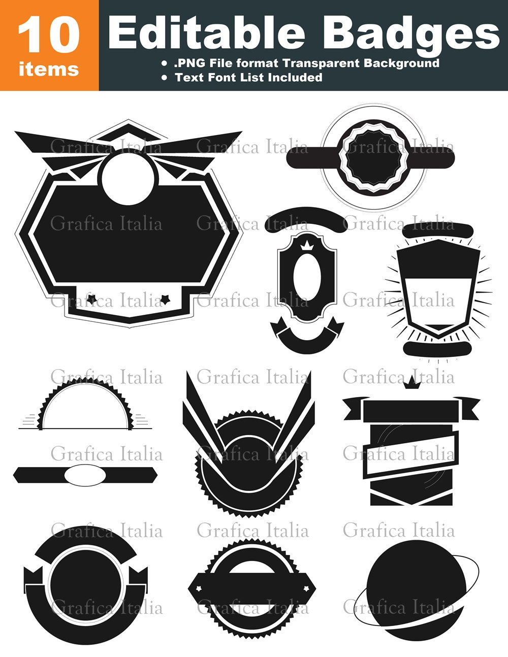 retro blank badge logo templates 10 graphic designs editable text clipart digital download. Black Bedroom Furniture Sets. Home Design Ideas