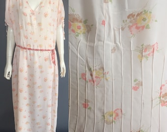 1920s nightgown in ditsy print rayon