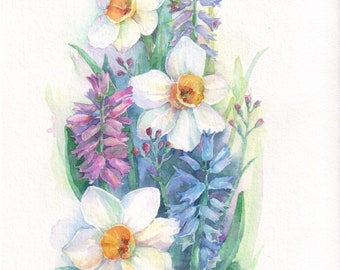 Spring flowers, nature, Mother's Day, original watercolor 18 cm x 26 cm