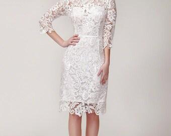 White Lace Sheath Dress with Scalloped Hem - White Sheath Dress - Black Lace Dress - Little Black Dress - Simple Lace Wedding Dress -B207