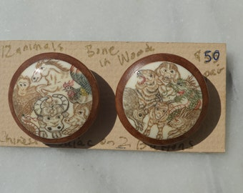 Bone in Wood Chinese Zodiac Buttons