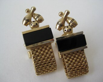 Nice Golden Bowling - vintage cuff links