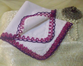 Ladies handkerchief, Lace Hanky, Hand Crochet, Fuscia, Custom Colors, Personalized, Bridesmaids Gift, Custom Embroidered