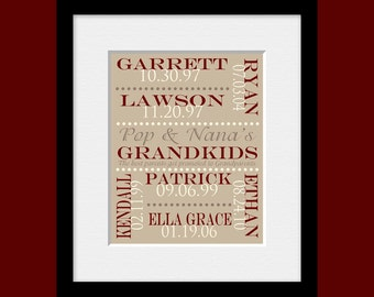 """Grandkids Names and Birthdates Wall Print, Gift for Grandparents, Grandparent's Gift, """"Best Parents Get Promoted to Grandparents"""" Print,"""