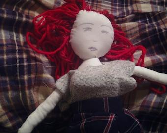 Doll Heirloom Cloth Art Doll Red Head Full Figured Positive Body Image Handmade OOAK