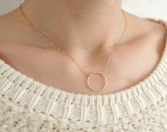 Simple Gold Necklace Gold Circle Necklace Gold Filled Necklace Gold Filled Jewelry Simple Necklace Gold Circle Choker Dainty Necklace