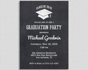 Graduation Party Invitation, Chalkboard Style Printable Invite, Class of 2018, DIY PRINTABLE