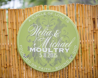 """24"""" Round Personalized Wedding Couple Signage - A circle of love never ends"""