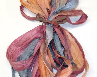 10YD. ENCHANTED  Sari Silk Ribbon Bundle//Dyed Silk Sari Ribbon Bundle//Sari Tassels,Sari Wall Decor,Sari Fiber Jewelry,Sari Tapestry