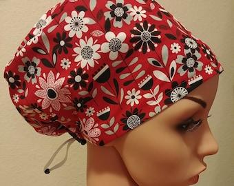 CLEARANCE Women's Surgical Cap, Scrub Hat, Chemo Cap, Flower Garden