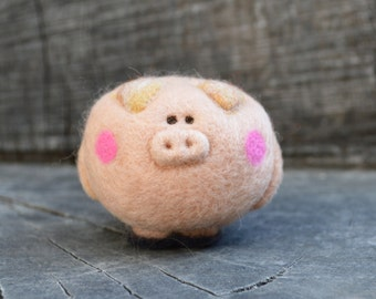 Needle Felted Itty Bitty Piggy Wooly Ready to Ship