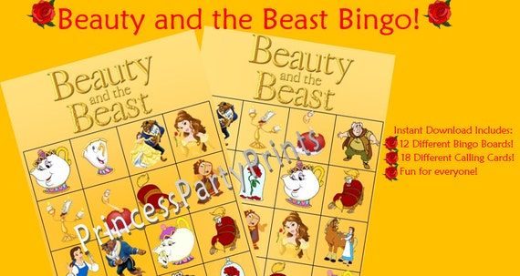 Download Beauty And Beast: Beauty And The Beast Bingo Instant Download-Printable