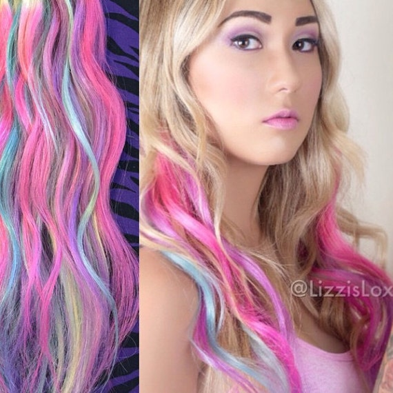 Blonde Hair With Pink And Blue Highlights Best Image Of Blonde