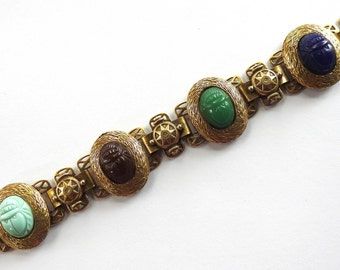 Mid Century Book Chain Egyptian Revival Poured Glass Scarab Bracelet