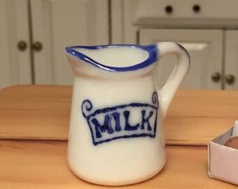 Miniature Milk Jug, Mini Pitcher, Dollhouse Miniature, 1:12 Scale, Ceramic Jug, Dollhouse Kitchen Decor, Accessory, White and Blue Jug