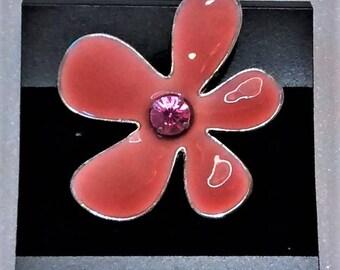 MM-110, Peach Enameled Flower Focal w/ Rhinestone