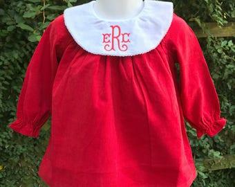 Red Corduroy Monogrammed Long Sleeve Dress