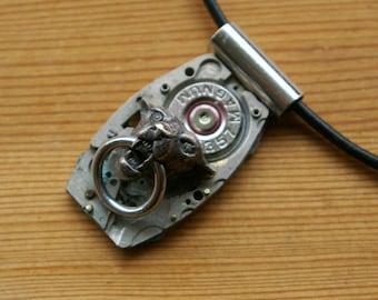 Industrial Jaguar Door Knocker Recycled Watch Plate Salvaged Bullet Pendant
