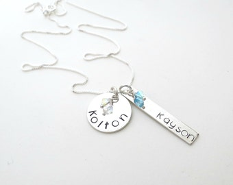 Personalized Necklace - Custom Birthstone Jewelry - Mothers Necklace - Grandma - Personalized Jewelry - Kids Name Necklace - Son - Daughter