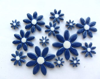 15  ceramic blue and white daisy mosaic pieces, flower tiles supplies  for mosaic making, cardmaking or similar