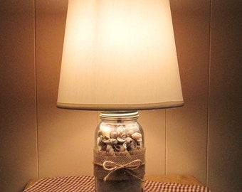 Sandy Beach/Table Lamp/Shells/Sand/Lighting/Mason Jar/Twine/Burlap/Homespun