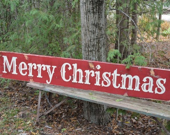 Barnboard Christmas Sign Merry Christmas Painted Wood Sign Vintage Christmas Sign Christmas Decor Country Chic Decor