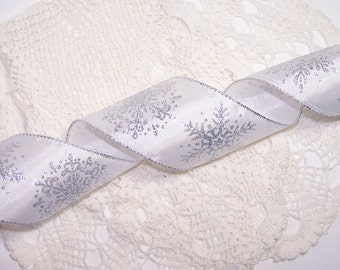 "3 Yards 2.5"" Silver Snowflake Wired Ribbon White with Silver Glitter Christmas Bow BTY Winter Holiday Wedding Gift Decor"