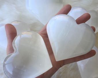 "Large selenite heart, 3 1/2"" selenite Hearts, protection stone, healing stone, love stone"