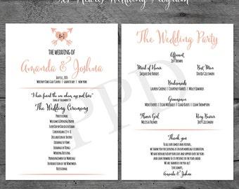 Wedding Program, 5x7 Hearts and Arrows Printable Wedding Program, Heart Wedding Program, DIY Wedding Program, Wedding Program, 5x7 Card