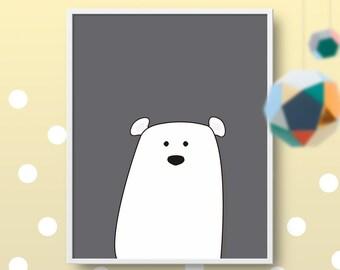 Little Polar Bear #2 PRINTABLE Art, Cute Animal Poster, Monochromatic Wall Art, Nursery Print, Nordic Style, Modern Baby Kids Room Decor