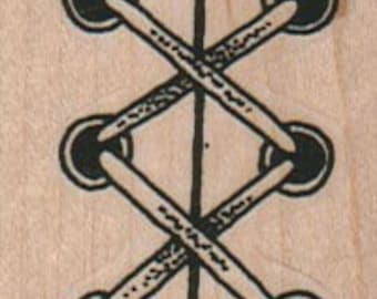 Rubber stamp  Corset Lace border wood Mounted  scrapbooking supplies number 3649
