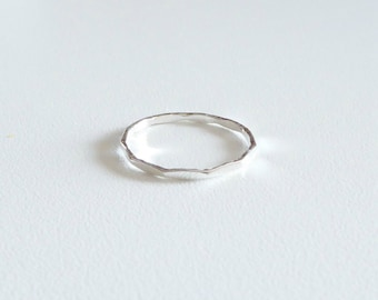 Sterling silver stacking ring, 1 mm silver hammered rings, silver ring band, 925 sterling silver ring
