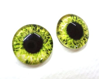 16mm Yellow Glass Eye Cabochons - Evil Eyes for Doll or Jewelry Making - Set of 2