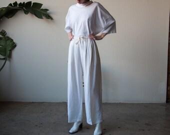 white woven linen blend drawstring pants / wide leg lounge pants / s / 3270t / B9