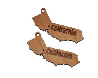 Unfinished wood California charms  X6