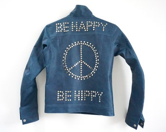 "Women leather jacket ""be happy, be hippy"" by Fashion Racing /  bohemian leather jacket / Coachella leather jacket / Coachella outfit / blue"