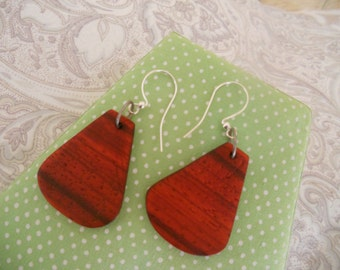Exotic Wood Handcrafted Earrings. Natural Red Colour Padauk Earrings.Bohemian Earrings. Jewelry.Gift for her, girlfriend, wife.